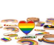 Tiro ascendente cercano en la situación del corazón del arco iris de LGBT en el fondo blanco Espacio de la copia arriba en el top stock de ilustración
