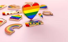 Tiro ascendente cercano en la situación del corazón del arco iris de LGBTQ+ en fondo rosado en colores pastel copie el espacio pa ilustración del vector