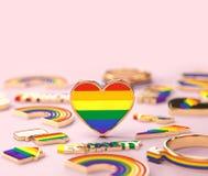 Tiro ascendente cercano en la situaci?n del coraz?n del arco iris de LGBTQ+ en fondo rosado en colores pastel copie el espacio pa ilustración del vector