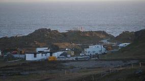Tiro cercano de la construcción del escenario de película de Star Wars en Malin Head Foto de archivo