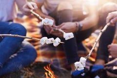 Tiro colhido de marshmallows doces da repreensão dos amigos na fogueira, imagem sem cara do tempo livre da despesa do grupo de p imagem de stock royalty free