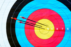 Tiro con l'arco dell'obiettivo: colpisca il segno (3 frecce, primi piani) Fotografie Stock