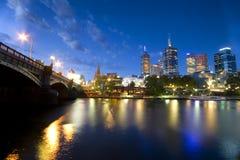 Tiro da noite de Melbourne Imagem de Stock Royalty Free