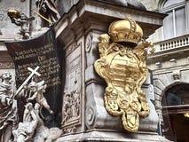 Tiro da rua de Graben e da estátua de Pestsäule da salsicha foto de stock royalty free