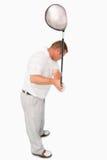 Tiro de alto ángulo del golfista fotografía de archivo