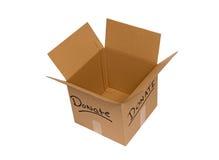 Tiro de arriba de la caja vacía de la donación Fotografía de archivo