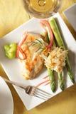 Tiro de arriba de la cena del pollo Imagen de archivo libre de regalías