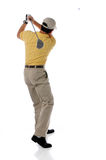 Tiro de golf después del oscilación Imágenes de archivo libres de regalías