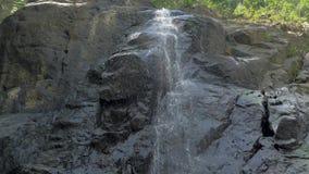 Tiro de la cámara lenta del primer de la pequeña cascada en la selva tropical de la selva tropical de Filipinas Pequeño rocoso oc metrajes