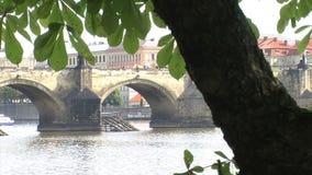 Tiro de la diapositiva del puente de ChaRTes, Praga metrajes