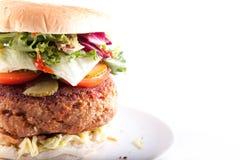 Tiro de la macro de la hamburguesa de la carne de vaca Fotos de archivo