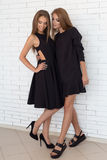 Tiro de la moda de dos muchachas hermosas en vestido del negro sexy contra un fondo de una pared blanca del ladrillo en el estudi Fotos de archivo