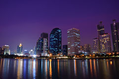 Tiro de la noche de la ciudad de Bangkok Foto de archivo