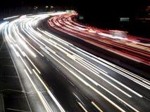 Tiro de la noche de los semáforos de la autopista sin peaje de Hollywood Fotos de archivo libres de regalías