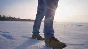 Tiro de las piernas masculinas en el perfil que camina rightwards en sol en campo nevoso almacen de video