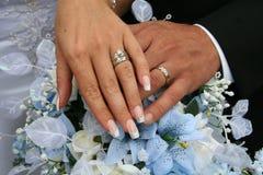 Tiro de los anillos de bodas Fotografía de archivo libre de regalías