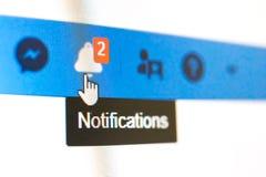 Tiro de pantalla de la notificación de Facebook foto de archivo libre de regalías