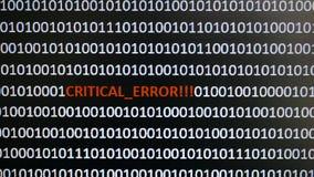Tiro de tela de computador com código binário e texto de advertência, conceito para o computador, tecnologia e segurança em linha Imagens de Stock