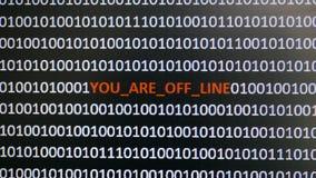 Tiro de tela de computador com código binário e texto de advertência, conceito para o computador, tecnologia e segurança em linha Fotografia de Stock Royalty Free