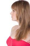 Tiro de uma menina bonita com vestido vermelho Fotos de Stock Royalty Free