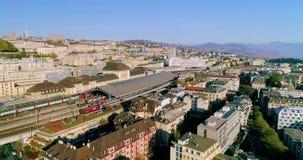 Tiro del abejón de la estación de tren de Lausanne almacen de video