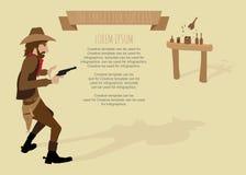 Tiro del cowboy l'obiettivo della pistola per successo. Fotografie Stock
