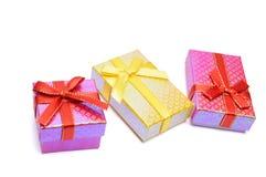 Tiro del estudio del rectángulo de regalo tres Foto de archivo