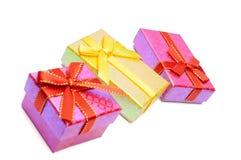 Tiro del estudio del rectángulo de regalo tres Imágenes de archivo libres de regalías