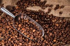 tiro del primer de la cucharada y de los granos de café asados derramados imagen de archivo libre de regalías