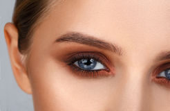 Tiro del primer del maquillaje femenino del ojo en estilo ahumado de los ojos Imágenes de archivo libres de regalías