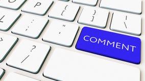 Tiro del primer del teclado de ordenador y de la llave azul del comentario Representación conceptual 3d Imagen de archivo