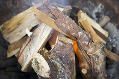 Tiro del primer del fuego y de madera superiores Imagen de archivo