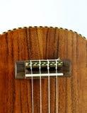 Tiro del primo piano del ukulele di legno Fotografia Stock