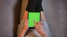 Tiro del primo piano del influencer sociale di media di modo seducente facendo uso della compressa con lo schermo verde Le coscie immagini stock