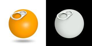 tiro dell'anello 3D delle latte su frutta arancione Fotografia Stock