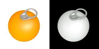tiro dell'anello 3D delle latte su frutta arancione Fotografia Stock Libera da Diritti