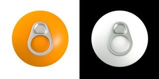 tiro dell'anello 3D delle latte su frutta arancione Immagine Stock Libera da Diritti