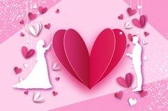 Tiro della freccia al cuore Amanti romantici bianchi I cuori modellano nello stile tagliato di carta Giorno felice del biglietto  illustrazione vettoriale