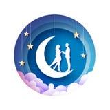 Tiro della freccia al cuore Luna crescente Amanti romantici bianchi Stile del taglio della carta delle stelle d'oro Giorno felice illustrazione vettoriale