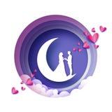 Tiro della freccia al cuore Luna crescente Amanti romantici bianchi Stile rosa del taglio della carta dei cuori Giorno felice del illustrazione vettoriale