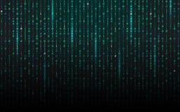 Tiro della matrice Background Flusso continuo del codice binario Cifre di caduta sul contesto scuro Concetto di dati Struttura fu illustrazione di stock
