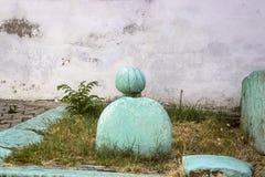 Tiro di fine della parte anteriore di vecchia tomba dell'ottomano con colore verde fotografia stock libera da diritti