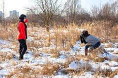 Tiro di foto all'aperto nell'inverno Fotografia Stock Libera da Diritti