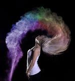 Tiro di foto della polvere di colore Fotografia Stock