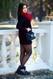 Tiro di foto di autunno, prova di modello di bella ragazza nel parco Fotografia Stock Libera da Diritti