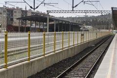 Tiro di foto di prospettiva del treno suburbano fotografie stock