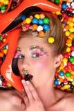 Tiro di tema della caramella creativa dello studio Fotografia Stock