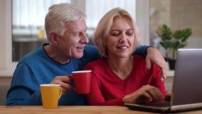 Tiro do close up de trabalhos em rede felizes superiores dos pares no portátil na mesa e do chá bebendo dentro em um apartamento  vídeos de arquivo