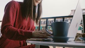 Tiro do close-up, mulher de negócios criativa que usa o portátil no café da manhã no balcão idílico do café de Paris com opinião  filme
