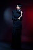 Mulher 'sexy' da forma no vestido preto da guipura. Composição profissional Foto de Stock Royalty Free